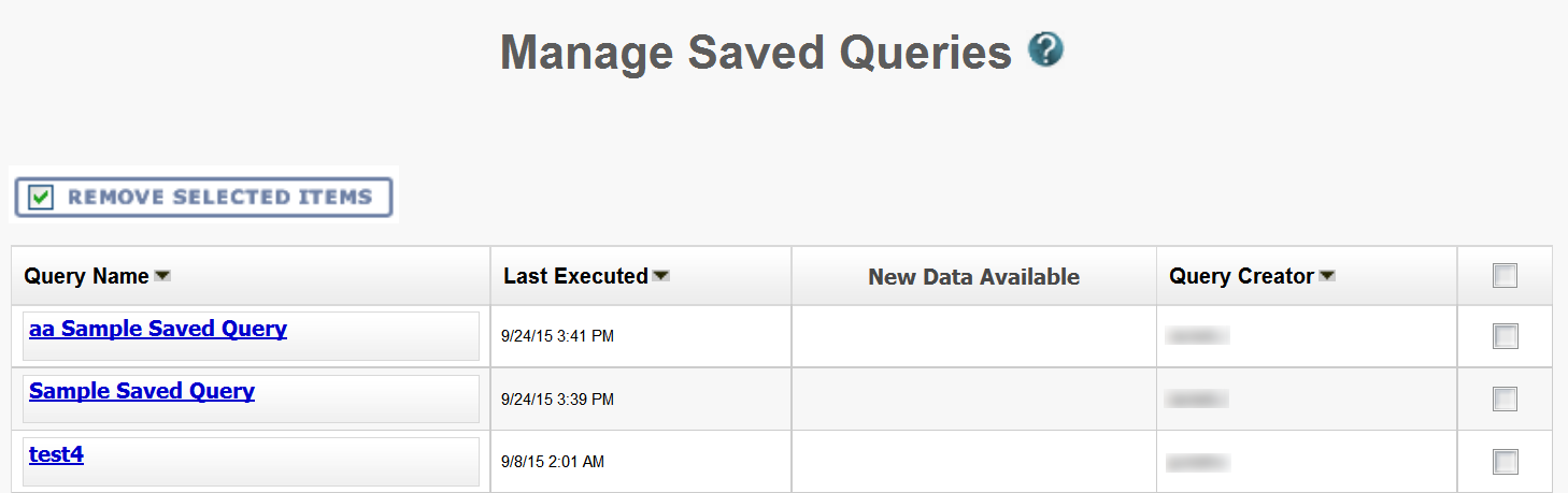 Manage Saved Queries page