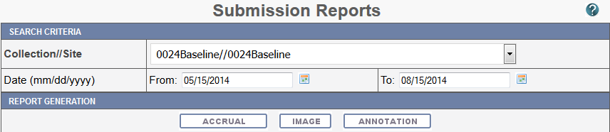 Submission Reports page