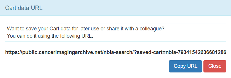 Cart Data URL message box showing the URL where you can access or share your cart data