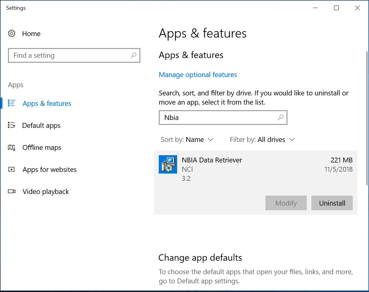 Apps and Features window of Windows 10 Settings
