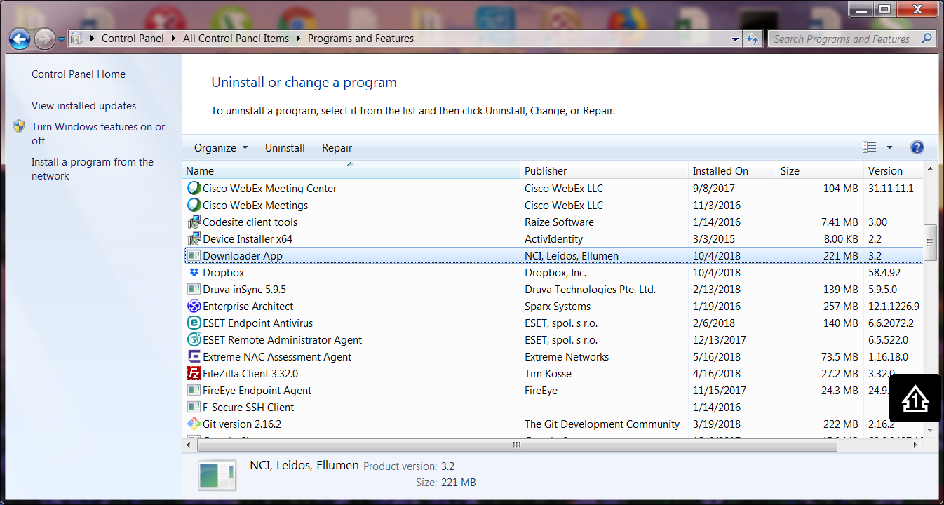 Uninstall or change a program screen from the Windows 7 Control Panel