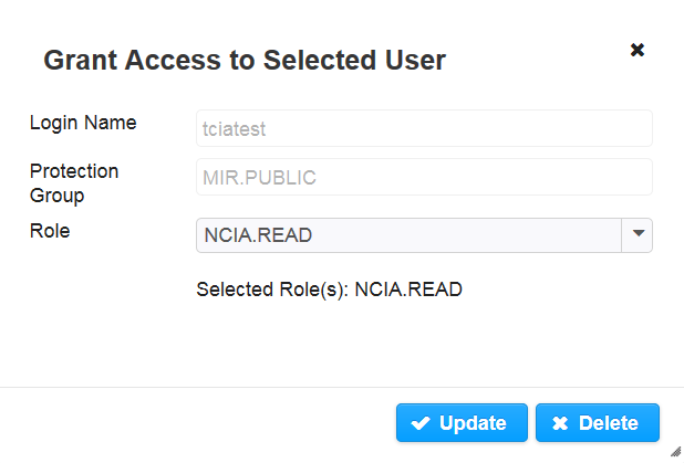 Grant Access to Selected User, Update