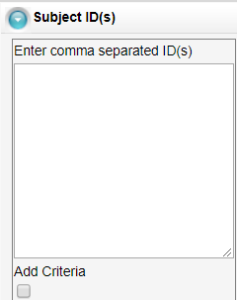 Subject ID(s) enter comma separated ID(s)