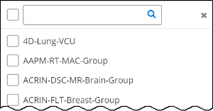 An empty text box with a magnifying class, followed by a list of user groups. Each group has a box to the left of it you can click to select the group.